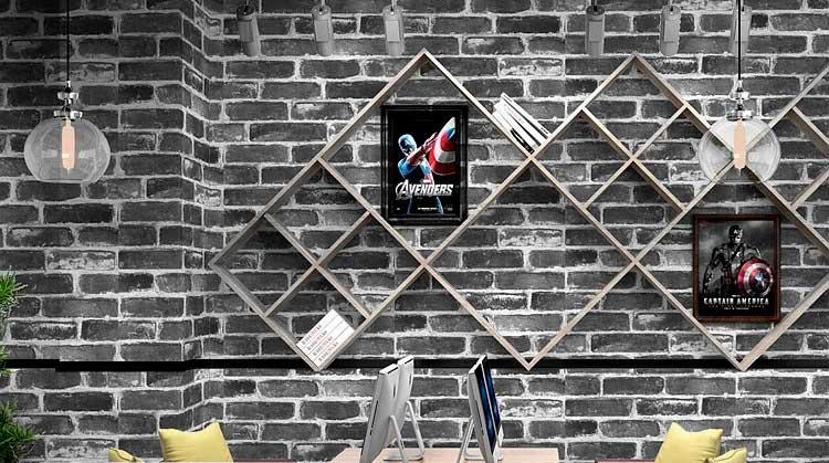 Papel Tapiz Wp54701 Lavable Textura Ladrillo Negro Wallpaperdeco