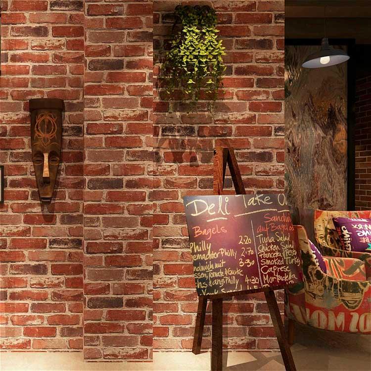 Papel Tapiz Wp54704 Lavable Textura Ladrillo Cafe Wallpaperdeco