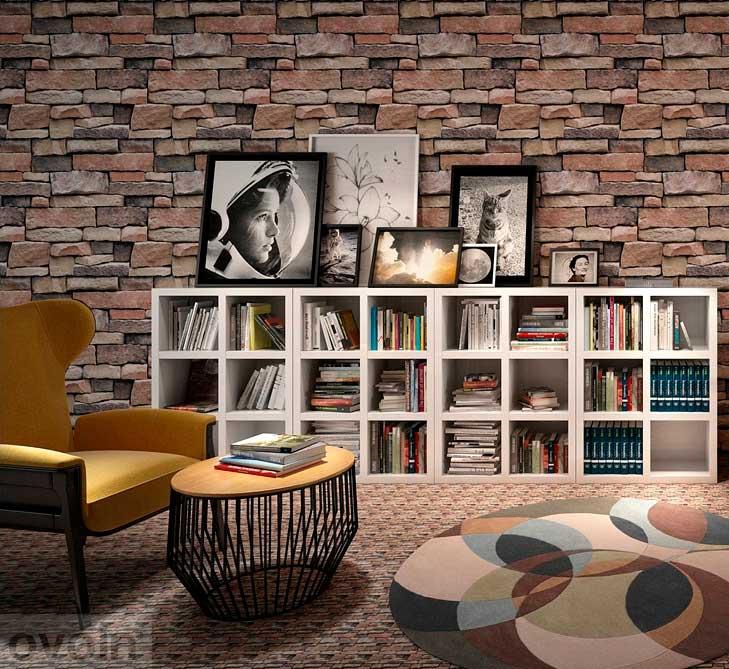 Papel Tapiz Wp57603 Lavable Textura Piedra Cafe Wallpaperdeco